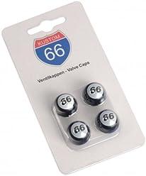 KUSTOM66 4er Set Ventilkappen Route 66 Ball in schwarz