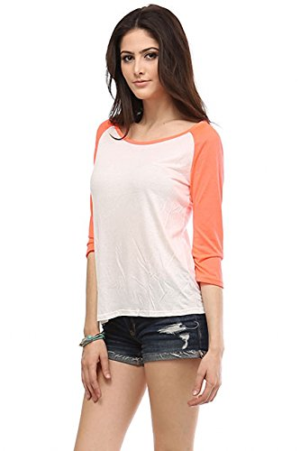 Sassy Apparel Womens 3/4 Sleeve Scoop Neck Hi-low Tunic Sweatshirt Tops (Large, Off White / Neon Coral)