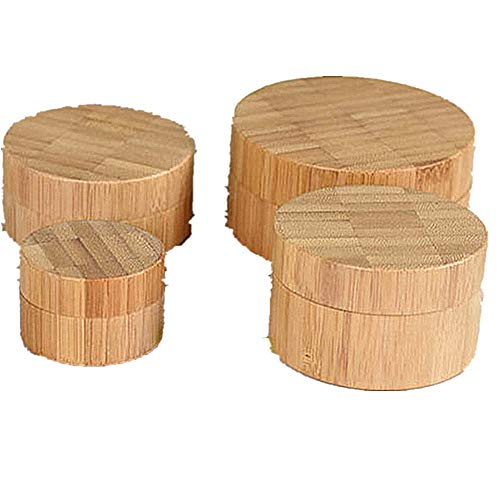 Bamboo Lid Frosted Bottle Outer Bamboo Made Inner PP Made Bottoes For Cosmetic, Capacity 10ml 30ml 50ml 100ml Samples Bottoes For Solid Cosmetics(4 Packed) Empty Cosmetic Comtainer