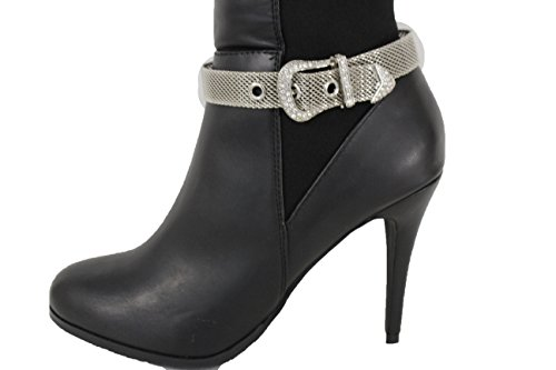 TFJ Women Fashion Boot Bracelet Bling Metal Chains High Heel Shoe Black Gold Wrap Around
