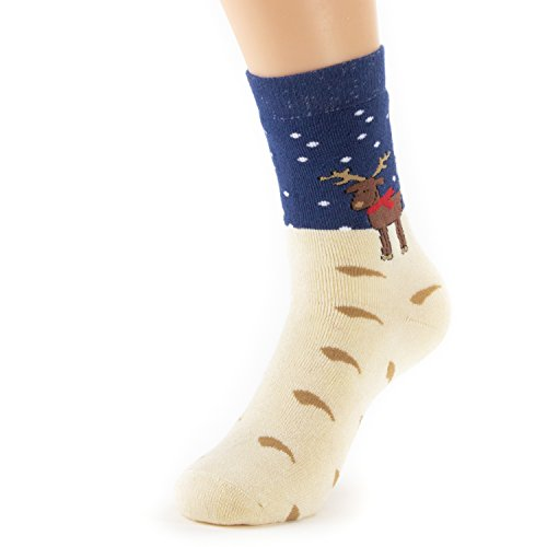 Natural Underwear Kids Youth Socks Blue Deer Design Christmas Gifts Small Bamboo Thermal Socks Snowboard Ski Cold Weather Comfort Luxury Healthy Crew Socks (Woven Socks Kids)
