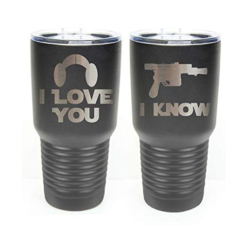Choice of 12 20 Colors Spill Proof Slide Lid Date Set of 2 Stainless Steel Tumblers w//Clear Lid Names I Love You I Know Star Wars Inspired Straw /& Your Text 30 oz Tumblers Engraved Gift