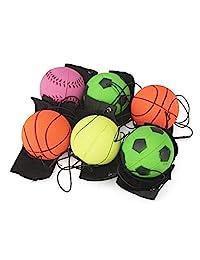 12 PCS Return goma Deporte Balón en nailon cuerda con muñeca de banda para hacer ejercicio o jugar