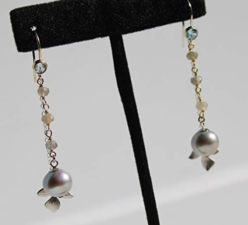 Grey round pearl Sterling silver aquamarine earrings with freshwater pearl and labradorite chain