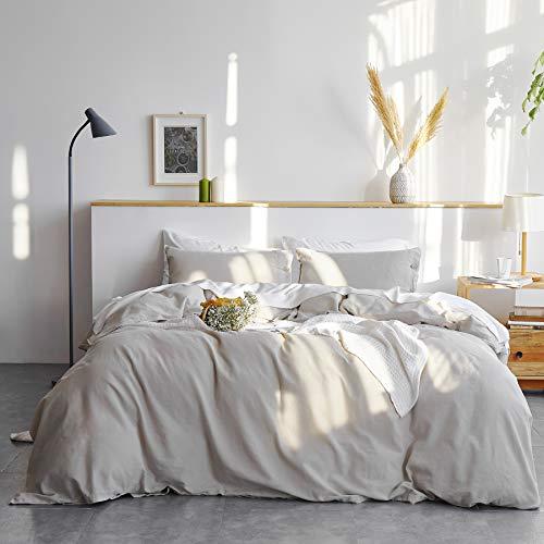 Bedsure Linen Duvet Cover Queen 55% Cotton 45% Linen Duvet Cover Set – 3 Pieces Comforter Cover Set (90 x 90 inchs,No…