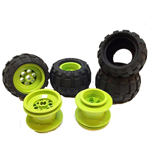 Lego Parts: Drome Racer Wheels Tire and Rim Bundle (4) Black 43.2mm x 28mm Balloon Tires (4) Lime 43.2mm x 28mm Wheel (Crusher Lego Racer)