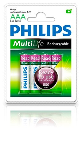 Philips MultiLife Ready-to-Use NiMH Rechargeable AAA Battery 800mAh 4PK (4pk Aaa Nimh Rechargeable Batteries)