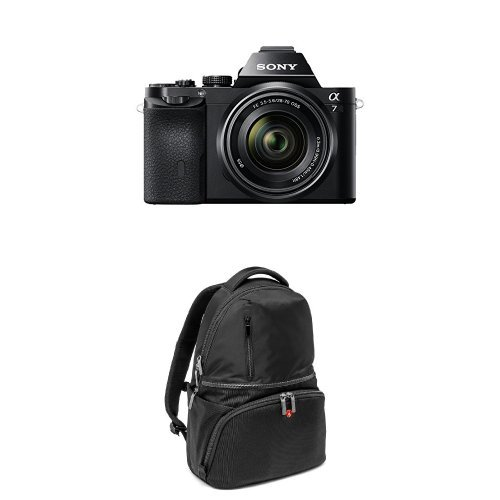 Sony ILCE7KB.CE Fotocamera Compatta con Ottiche Intercambiabili, Nero con Manfrotto MB MA-BP-A1 Zaino Active 1 per Reflex, Obiettivi e Laptop, Nero/Antracite product image