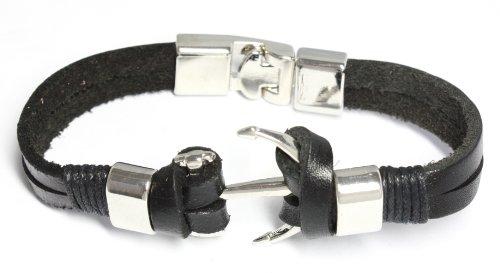 BDJ Men Women Nautical Anchor Charms Black Leather Wrap Bracelet 8.5 Inches (ACLBk06)