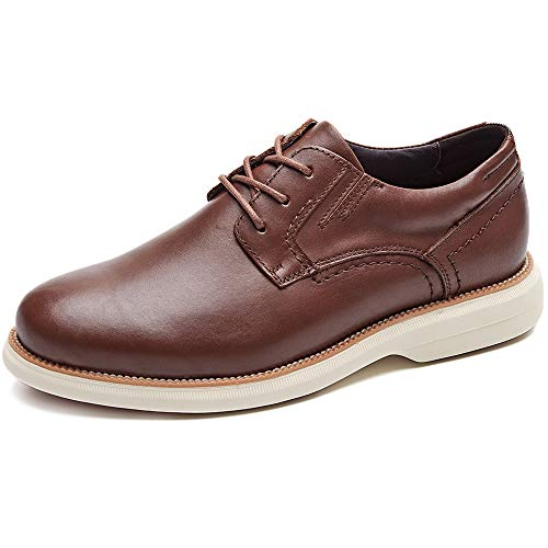 (LAOKS Mens Hybrid Plain Toe Oxford, Lace-up Casual Dress Shoes, Brown)