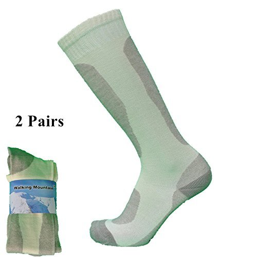 Walking Mountain Ski Socks-80% Bamboo Terry Thicker Outdoor Sports White&Grey Color US 3-6.5 Women's Socks(Pack 2 Pairs)