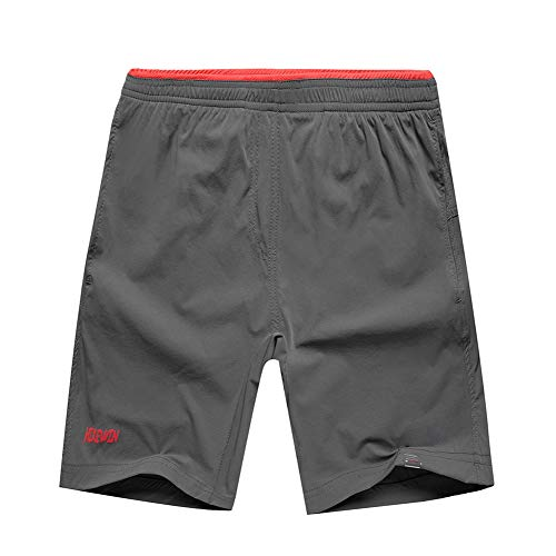 Hikewin Women's Athletic Running Shorts with Zip Pockets Quick Dry Sports Workout Short Grey