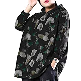 YESNO YT1 Women Girls Sweet Pullover Hoodies Ethnic Floral Sweatshirts Side Slit Long Sleeve
