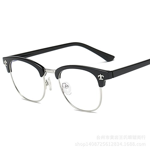 tail pin flat optical glasses Star vintage frame eyeglasses large glasses frame,Bright black and silver frame