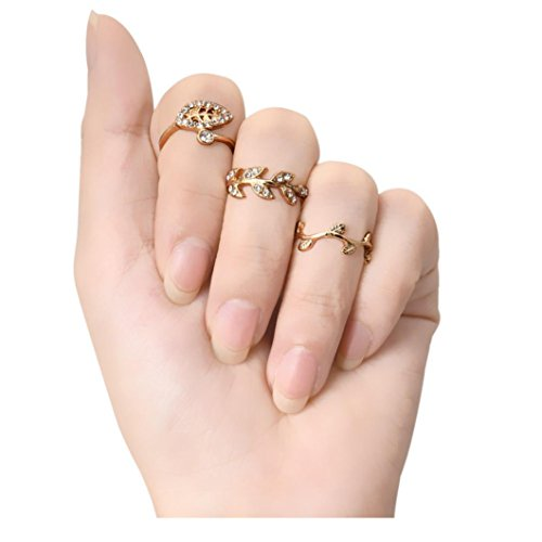 5 Pcs Alloy Diamond Leaves Rings - 2