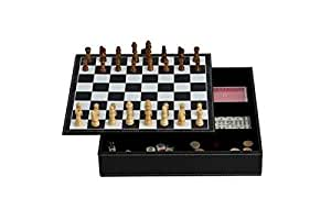 """11"""" 7-in-1 Game Set with Black Leatherette Finish"""