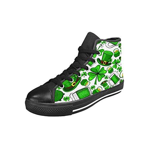 INTERESTPRINT Women's Canvas Sneaker High Top Shoes St Patricks Day Clovers US7