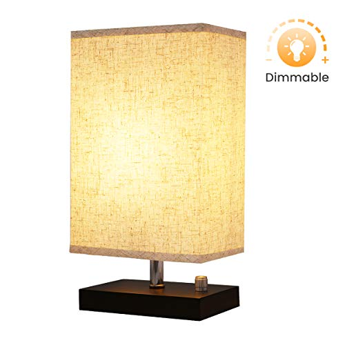 Designer Dimmer - Dimmable Bedside Lamp, KingSo Solid Wooden Base Plug In Table Lamp With Dimmer Knob Switch E26 Nightstand Lamp Fabric Shade For Bedroom Babyroom Living Room