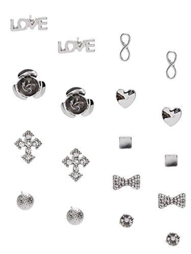 G by GUESS Women's Silver-Tone Stud Earring Set