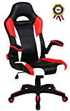 Cheap SEATZONE Racing Car Style Bucket Seat Gaming Chair, Curved High-Back Executive Swivel Office Leather Chair, Adjustable Computer Chair with Flip-Up Armrest (RedWhite)