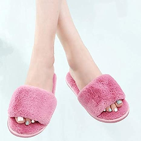 cfe9adac2002 Image Unavailable. Image not available for. Color  Mink Monk Women Faux Furry  Slippers Winter Female Fluffy Slides Sandals Warm Ladies Indoor Shoes Flip