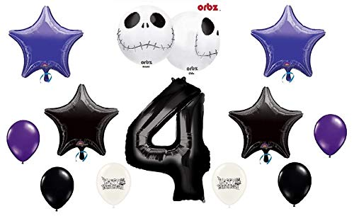 Jack Skellington Nightmare Before Christmas Birthday Party Balloon Bundle with Number 1-9 Option (4th Birthday) ()
