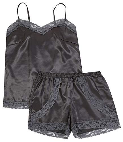 Women's Sexy Lingerie Satin Pajama Cami Set Silky Lace Nightwear Short Sleepwear -