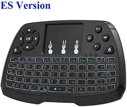 Calvas Russion Spanish English Version Wireless Keyboard Backlit Touchpad Mouse Remote Control with Backlight for TV BOX #S0 Color: Spanish