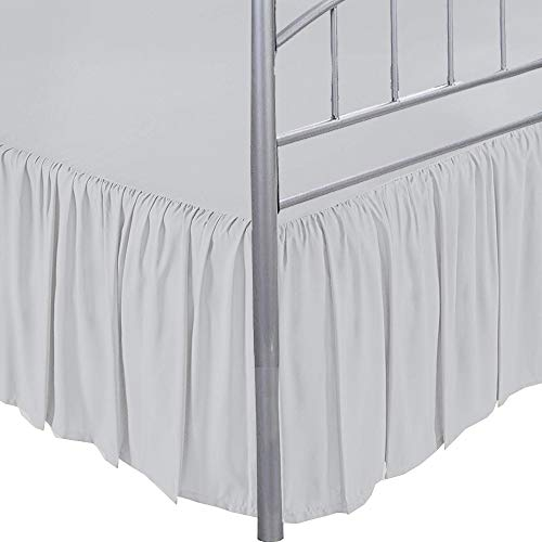 Ruffled Bed Skirt with Split Corners-Light Grey,Queen BedSkirt,Gathered Style Easy fit up to 12 Inch Drop Platform Ruffle Bed Skirts.