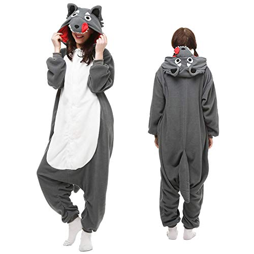 Wolf Onesies Adult Womwn/Men Cattoon Cosplay Animal Pajamas