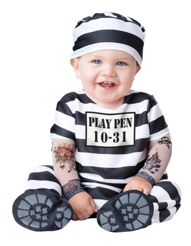 Baby Prisoner Halloween Costume: Infant Jailbird Costume (12-18 months with Bracelet for Mom) -