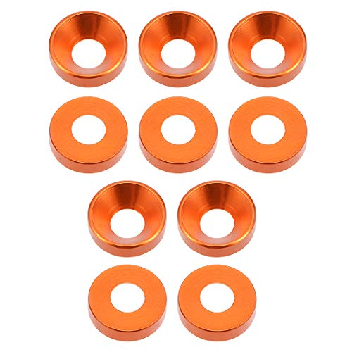 (uxcell 10 Pcs 12mm x 5mm x 3mm Aluminum Countersunk Washer Orange for Screw Bolt)