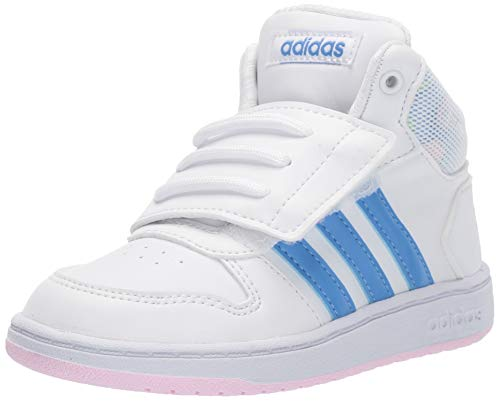adidas Baby Hoops Mid 2.0 Sneaker, White/Real Blue/Clear Pink, 8.5K M US Toddler