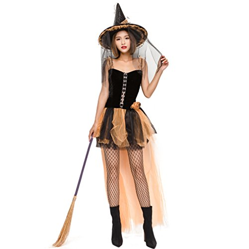 Women's Witch Gothic Costume Sexy Sorceress Halloween Vintage Dress (Small)