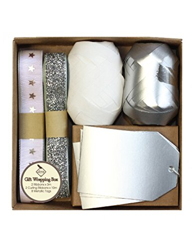 Christmas Gift Wrapping Accessories - Silver and White - ribbons, curling ribbons and tags Deva Designs