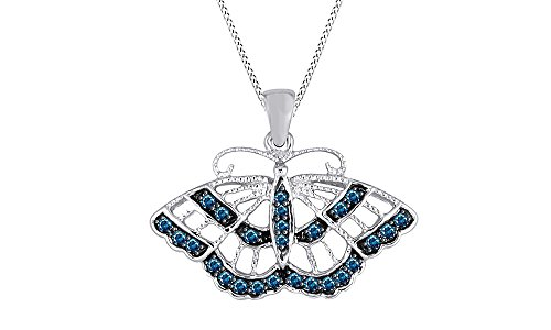 Beautiful 0.2 Ct Round Cut Simulated Blue Sapphire Butterfly Pendant Necklace In 10K Solid Gold