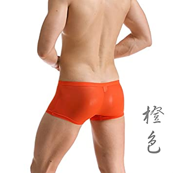 XiaoGao_ Macho Ultra Slim Lycra shorts cintura pura ropa interior,M (cintura 2-