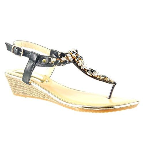 Tacco Nero Gioielli Aperto Zeppa Cinturino Sandali cm Moda Scarpe 2 Donna Lucide Angkorly 8qSxZRCwx
