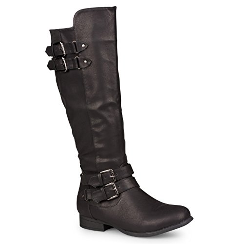 Twisted Women's Chloe Faux Leather Knee High Riding Boots with Buckle Straps - CHLOE74 BLACK, Size (Strap Riding Boots)