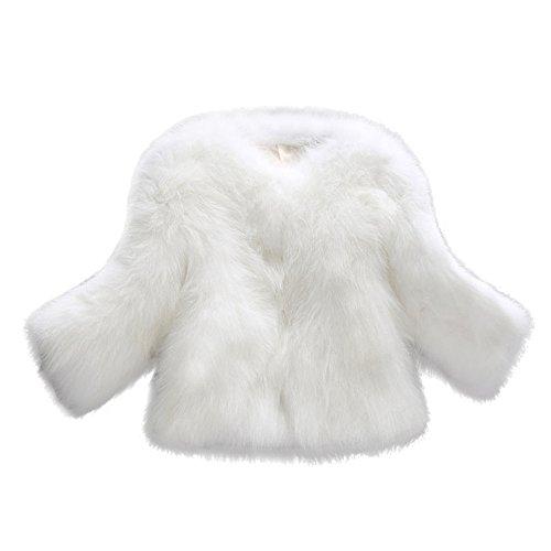JESPER Women Faux Fur Soft Thick Coat Jacket Fluffy Winter Plush Waistcoat Outerwear White
