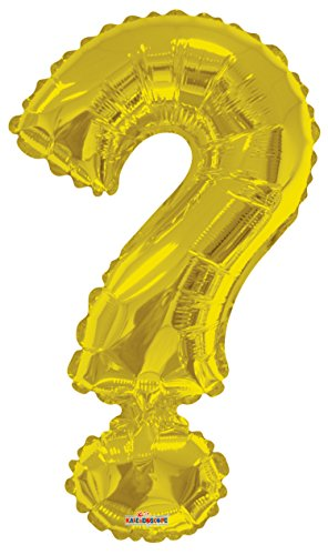 Golden Mark - Kaleidoscope Jumbo Question Mark Letter Foil Mylar Balloon, Gold
