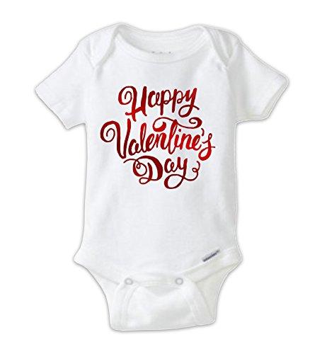 Juju Apparel Happy Valentine's Day Script Red Foil Baby Bodysuit (4T Tee Shirt) (Script Womans Foil Shirt)