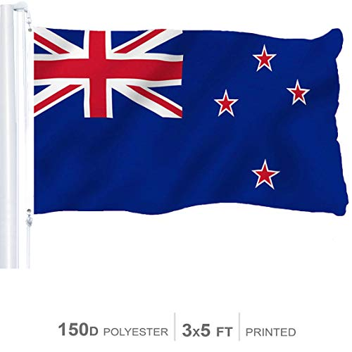 (G128 – New Zealand Flag | 3x5 feet | Printed 150D – Indoor/Outdoor, Vibrant Colors, Brass Grommets, Quality Polyester, US USA Flag, Much Thicker More Durable Than 100D 75D Polyester)