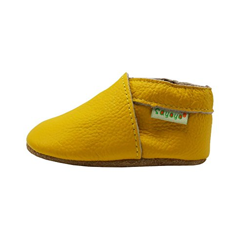 Sayoyo Lowest Best Baby Soft Sole Prewalkers Skid-resistant Baby Toddler Shoes Cowhide Shoes (18-24 months, Yellow) - Image 3