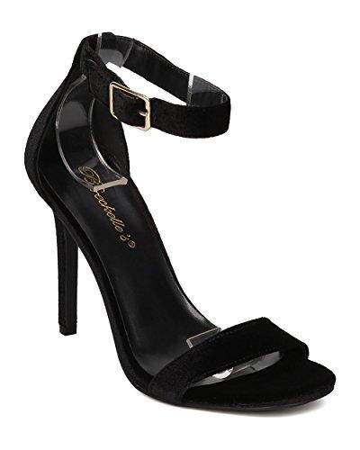 Fluweel Stiletto Sandaal Voor Dames - Chic, Formeel, Trouwjurk - Enkelbandje Hak - Gf03 Van Breckelles Zwart