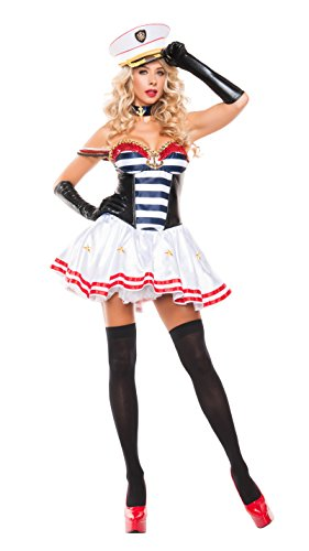 Starline Women's Mistress Sailor Sexy 3 Piece Costume Dress Set, White/Blue, Medium (Mistress Costumes)