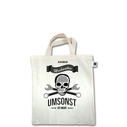 Handwerk - Mechaniker Umsonst ist nicht - Unisize - Natural - XT500 - Fairtrade Henkeltasche / Jutebeutel mit kurzen Henkeln aus Bio-Baumwolle