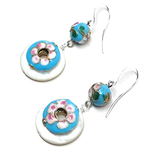 (Turquoise-Pink Floral Chinese Cloisonne Enamel Mother-of-Pearl Shell Earrings)