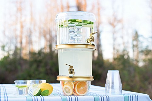 Two Gold Plated (Adorn Crystal Clear 2-Tier Decorative Drink Dispenser, 2-Tier, 3 Ice Chambers and 2 Gold plated Faucets |Stylish Lid Cover and Cup Tray)