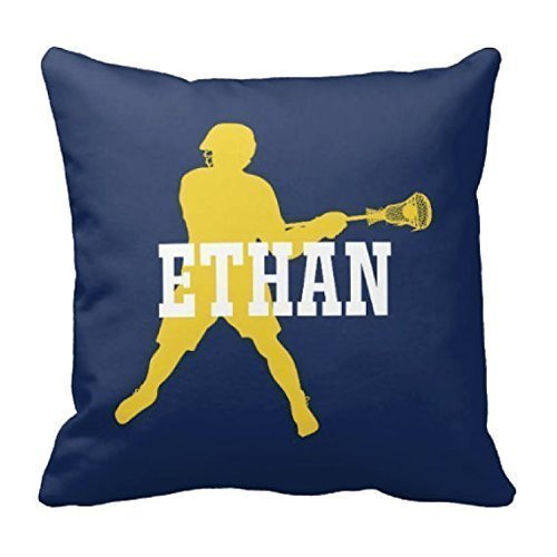 Lacrosse Throw Pillow Cover, Custom, Boy's LAX Pillowcase, Bright Chartreuse, Grey, White, ANY Color, 16x16